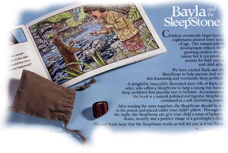 Bayla and the SleepStone features a kids reading book and a TigerEye SleepStone polished red with touches of silver hematite.